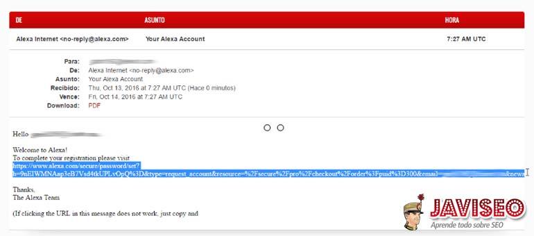 Activar la cuenta con el enlace que llega al Email