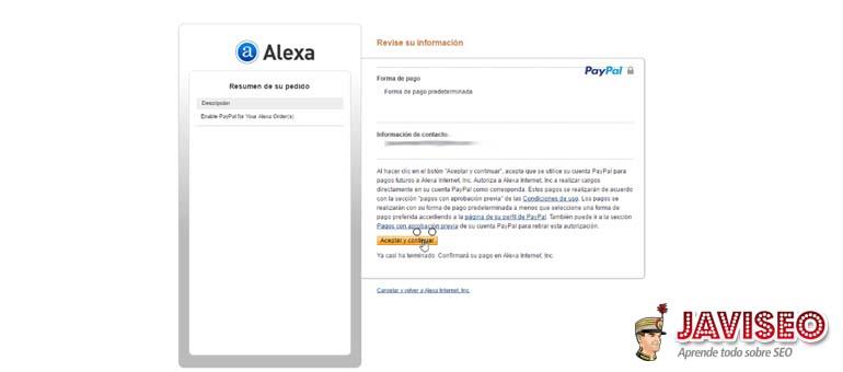 Aceptar y continuar en Paypal