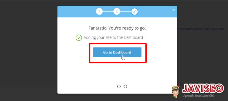 Pulsamos en Go to Dashboard