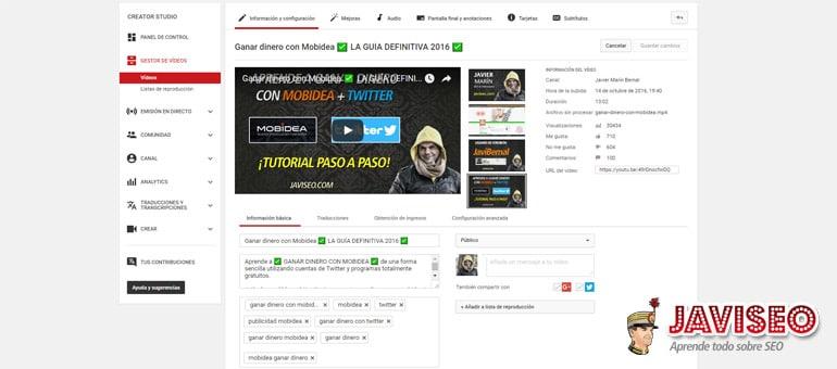 Configuración del vídeo