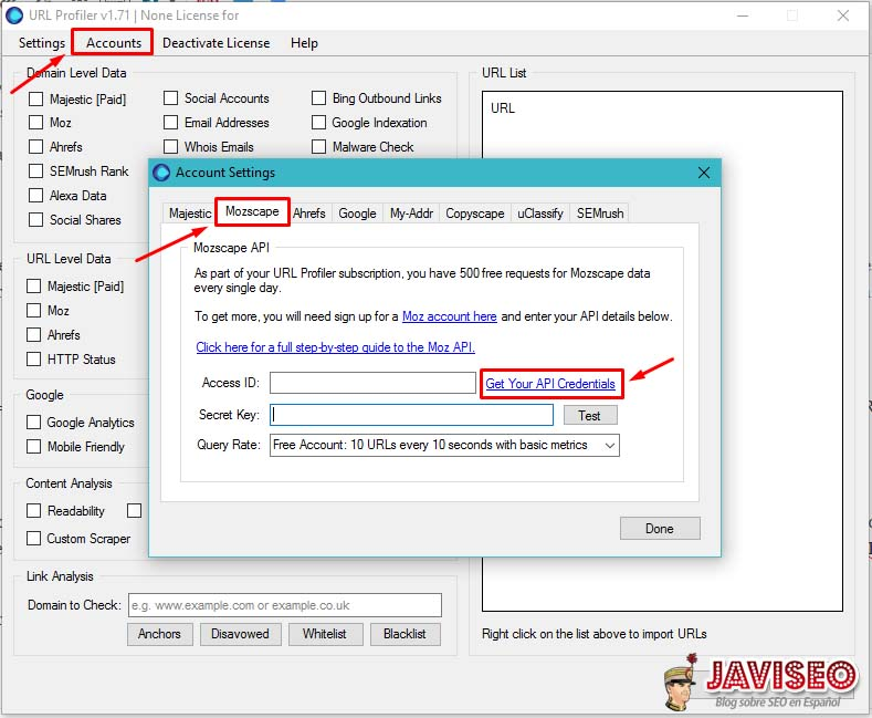Copiar API de MOZ en URL Profiler
