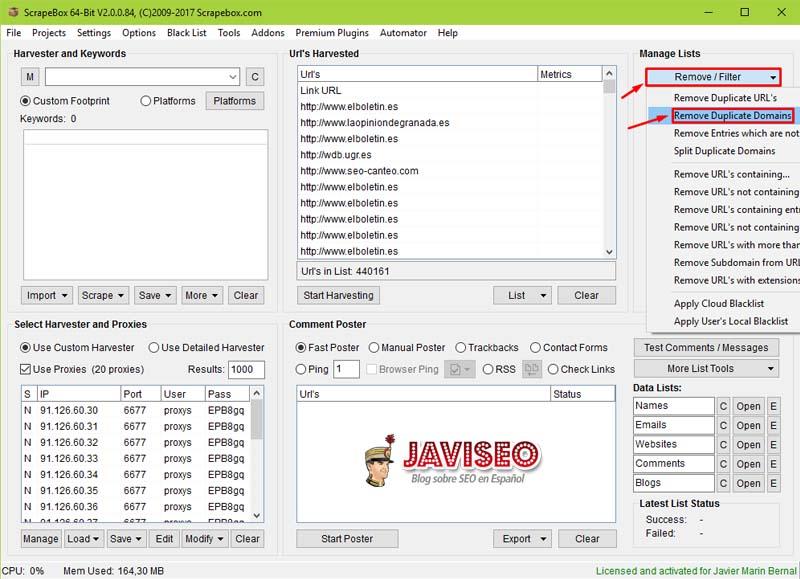 Quitar dominios duplicados con Scrapebox